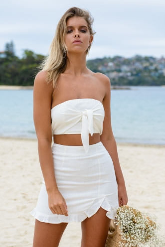Hands Up Skirt - White Linen