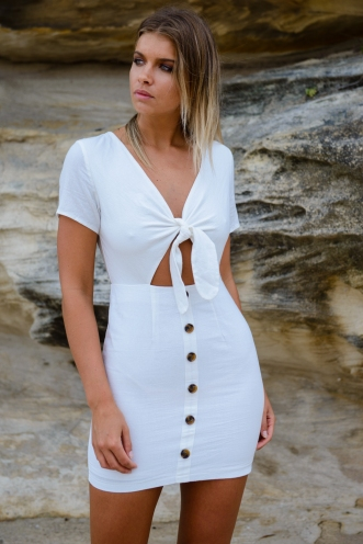 Wave breaker dress - White