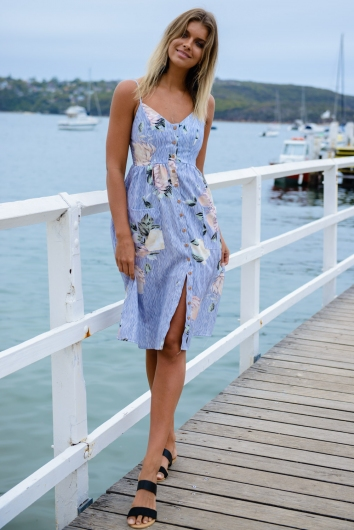 The Tide Is High Dress - Pin Stripe Floral