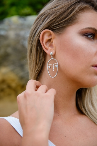 Abstract Earrings - Silver Face