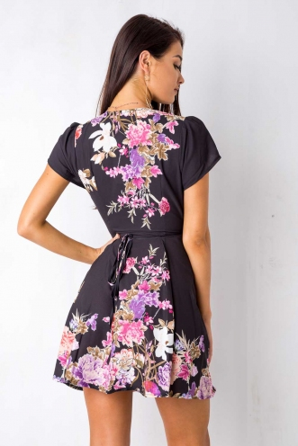 Milly wrap dress - Black Floral Print