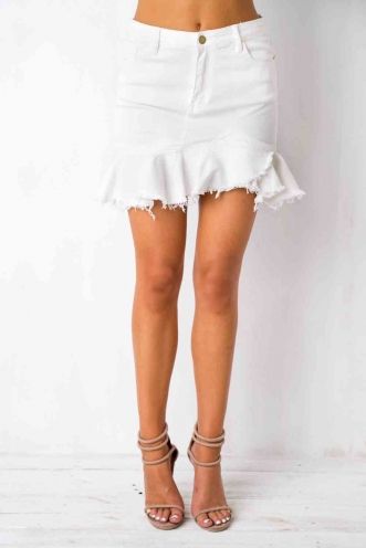 All That I Need Skirt- White Denim