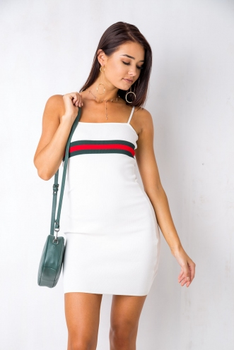 Preppy Dress - White/Green/Red
