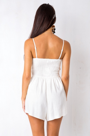 The Time Of My Life Playsuit - White Linen