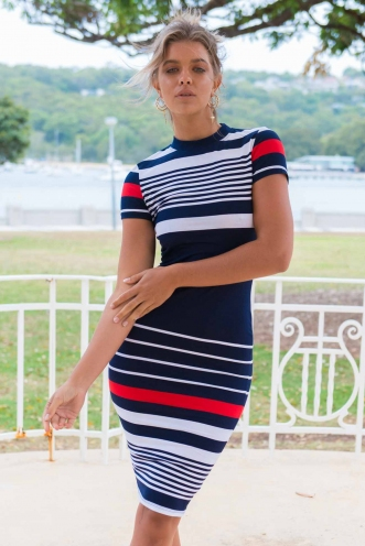 Between the lines dress - Navy/White/Red