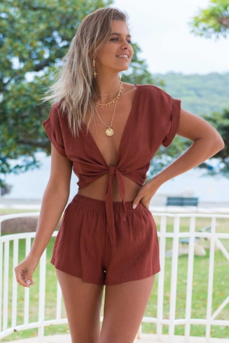 Sun Kissed Top- Brown