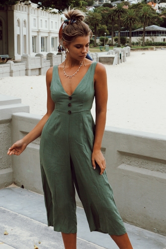 Jump Start Jumpsuit - Khaki