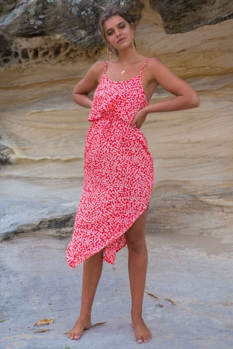 What I Want Relaxed Maxi Dress- Red Print
