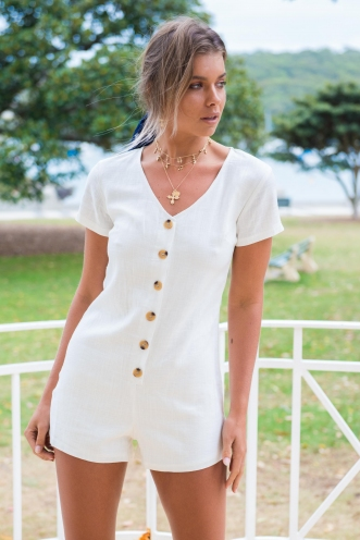 First Date Playsuit - White