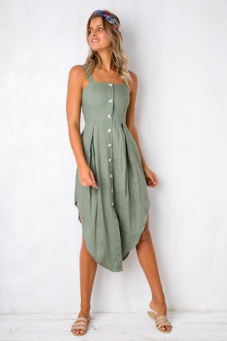 Window Shopper Dress - Khaki