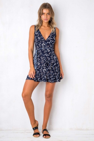 Move Over Dress - Navy Floral