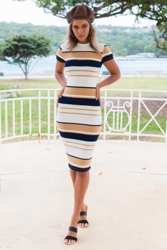 Between the lines dress - Beige/Navy Stripe