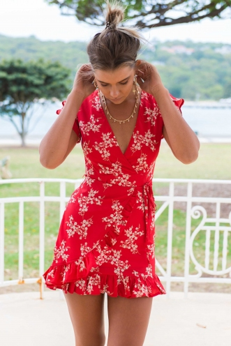 Belle Dress - Red Floral