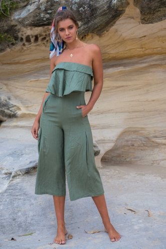 The Look of Love Jumpsuit - Khaki