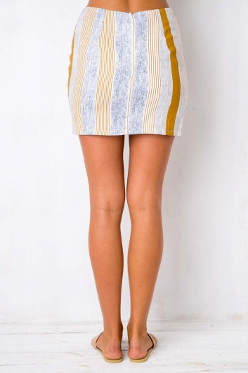 Candy Stripe Skirt - Brown/Navy