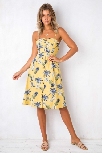 Drops of Jupiter Dress - Mustard Pineapple