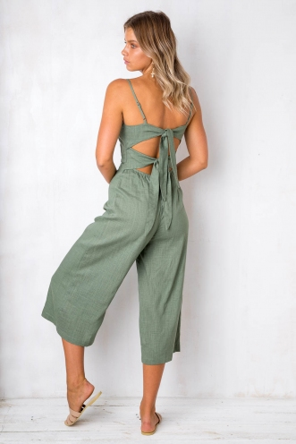 The Other Side Jumpsuit - Khaki