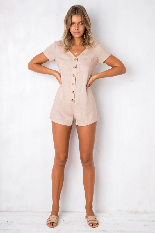 6fb471f5f96 First Date Playsuit - Beige. Loading zoom