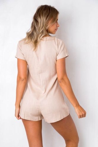 First Date Playsuit - Beige