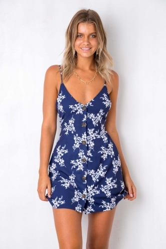 Me Time Dress - Navy Floral