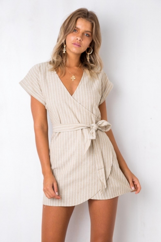 Made My Day Dress - Light Khaki Stripe