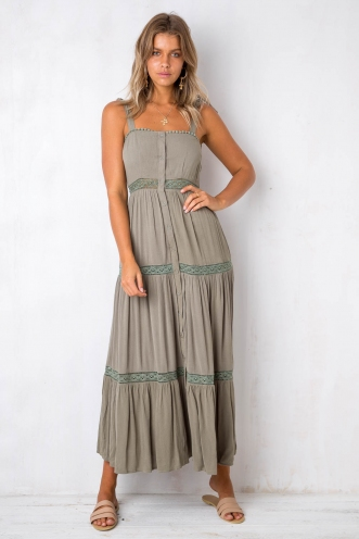 One Call Away Dress - Khaki