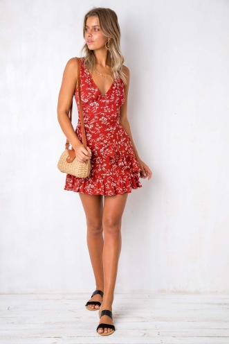 Move Over Dress - Red Floral