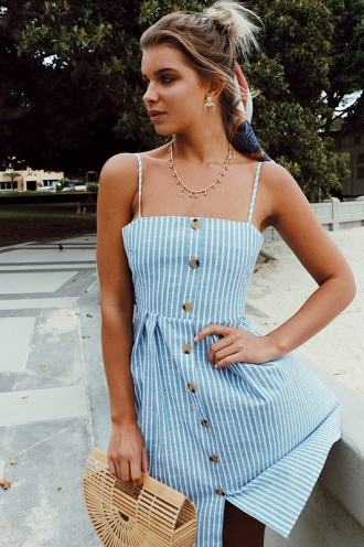 In the Ivy Dress - Blue/White Stripe