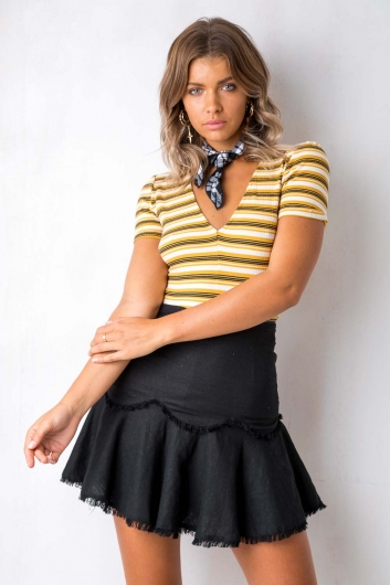Time Moves Slow Top - Mustard/White Stripe