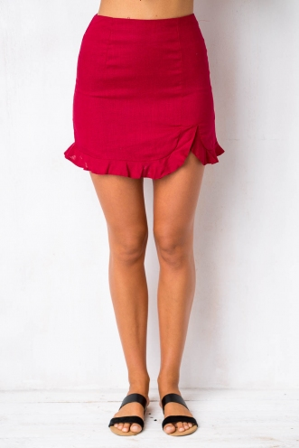Hands Up Skirt - Maroon