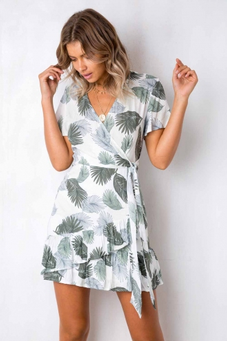 Had It All Dress - White/Green Leaf