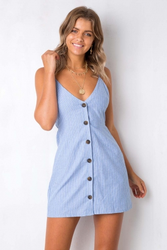 Me Time Dress - Blue/White Stripe