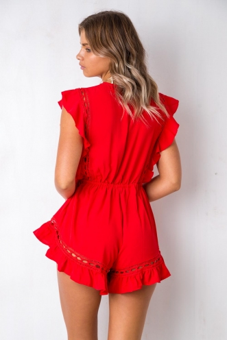 Golden Days Playsuit - Red