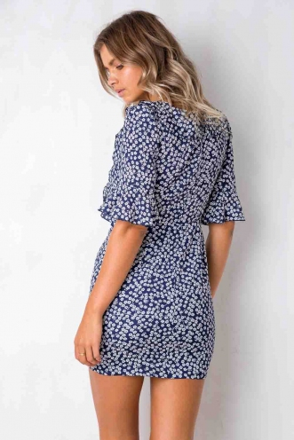 Lotus Flower Dress - Navy Floral