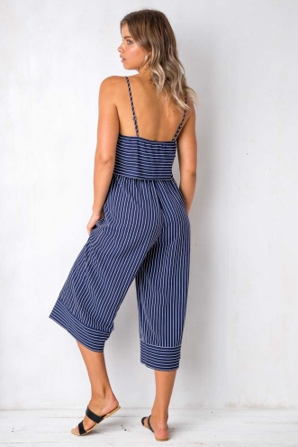 Summer Retreat Jumpsuit - Navy Stripe