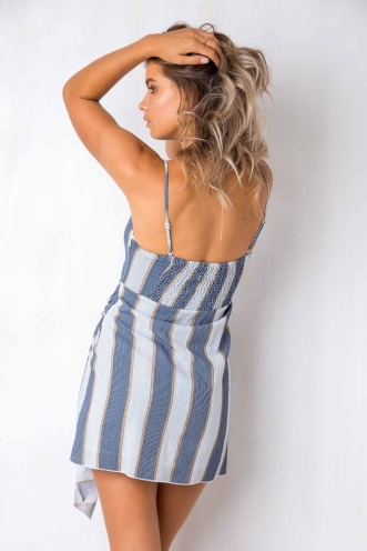 How Would You Feel Dress - Beige/Navy Stripe