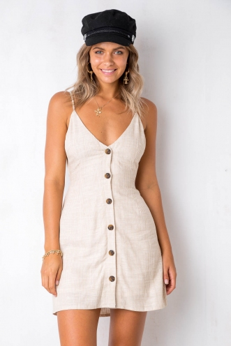 Me Time Dress - Beige/White Stripe
