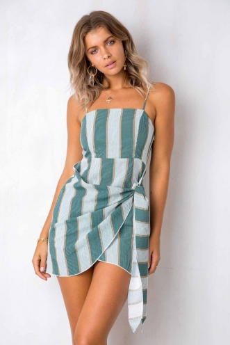 How Would You Feel Dress - Green/White Striped