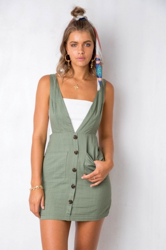 Brighter Than Sunshine Dress - Khaki