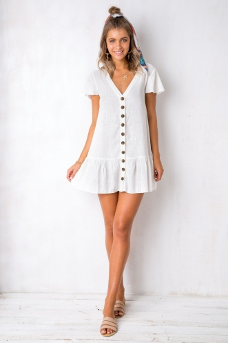 Rose Thorn Dress - White