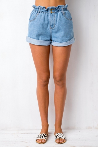 Bottle Pop Shorts - Blue Denim