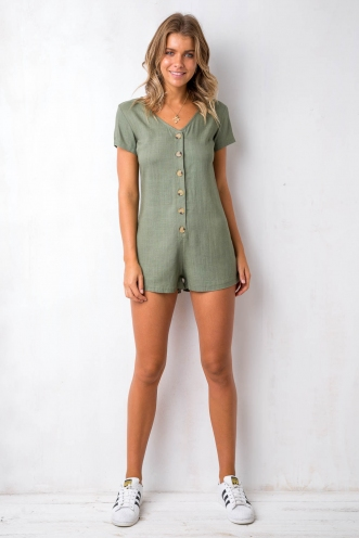 First Date Playsuit - Khaki