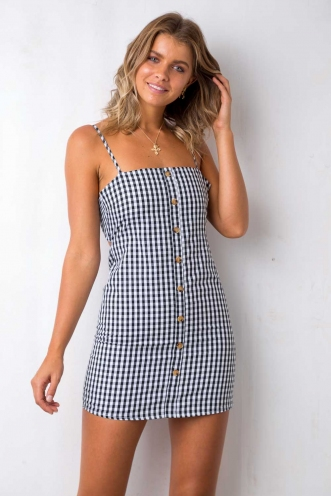 Carlie Dress - Black/White Gingham