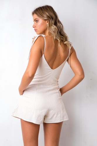 Cute As Can Be Playsuit - White/Cream Stripe