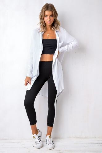 Jog On Legging - Black/White Stripe