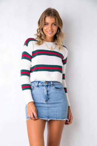 Snow Fall Top - White/Green/Red Stripe