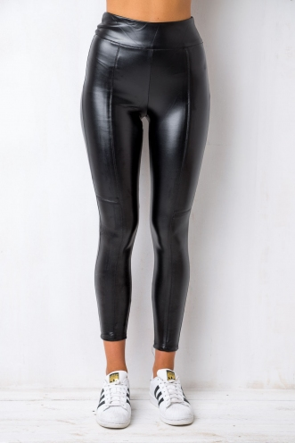 Grease Lightning Leggings - Black Leatherette