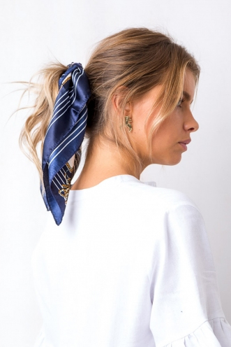 Sail By Me Head Scarf - Nautical Navy/Red/White