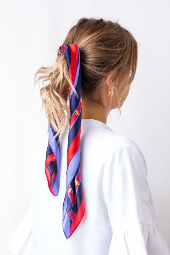 Honey Pot Head Scarf - Navy/Red/Green