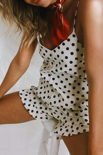 Pretty Thing Playsuit - Beige/Navy Spot